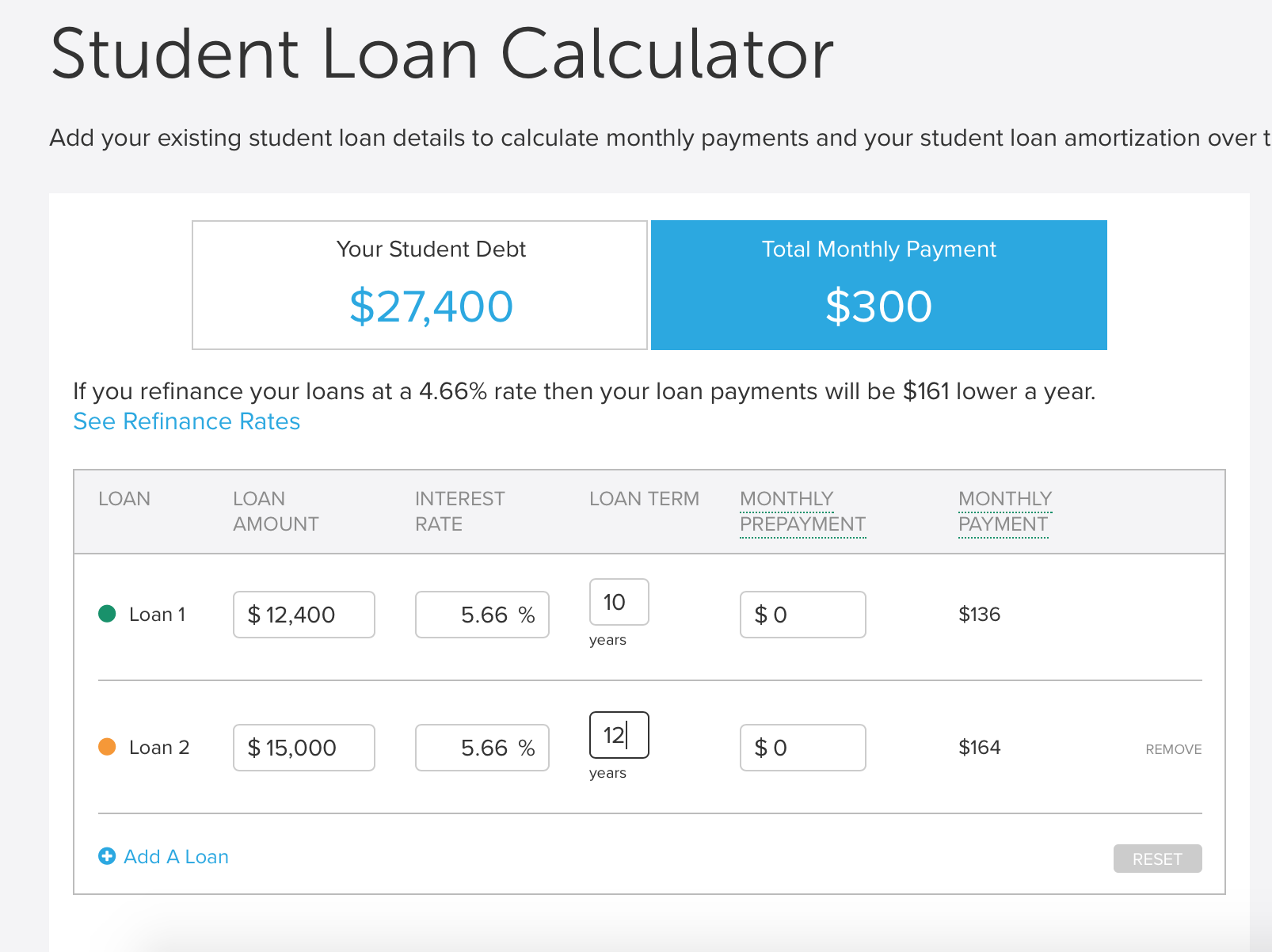 student loan calculator website image