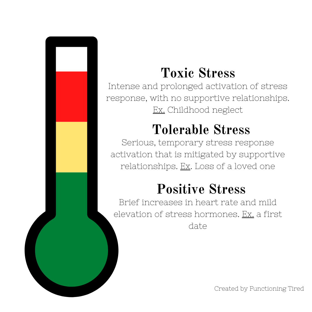 infographic describing toxic stress that depicts a thermometer showing the 3 levels of stress: positive stress, tolerable stress, and toxic stress