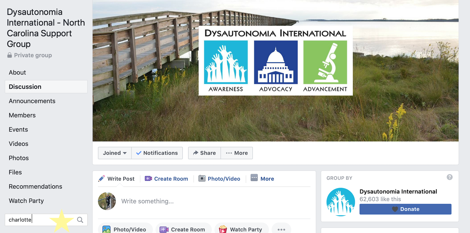 facebook group home page for dysautonomia international support group