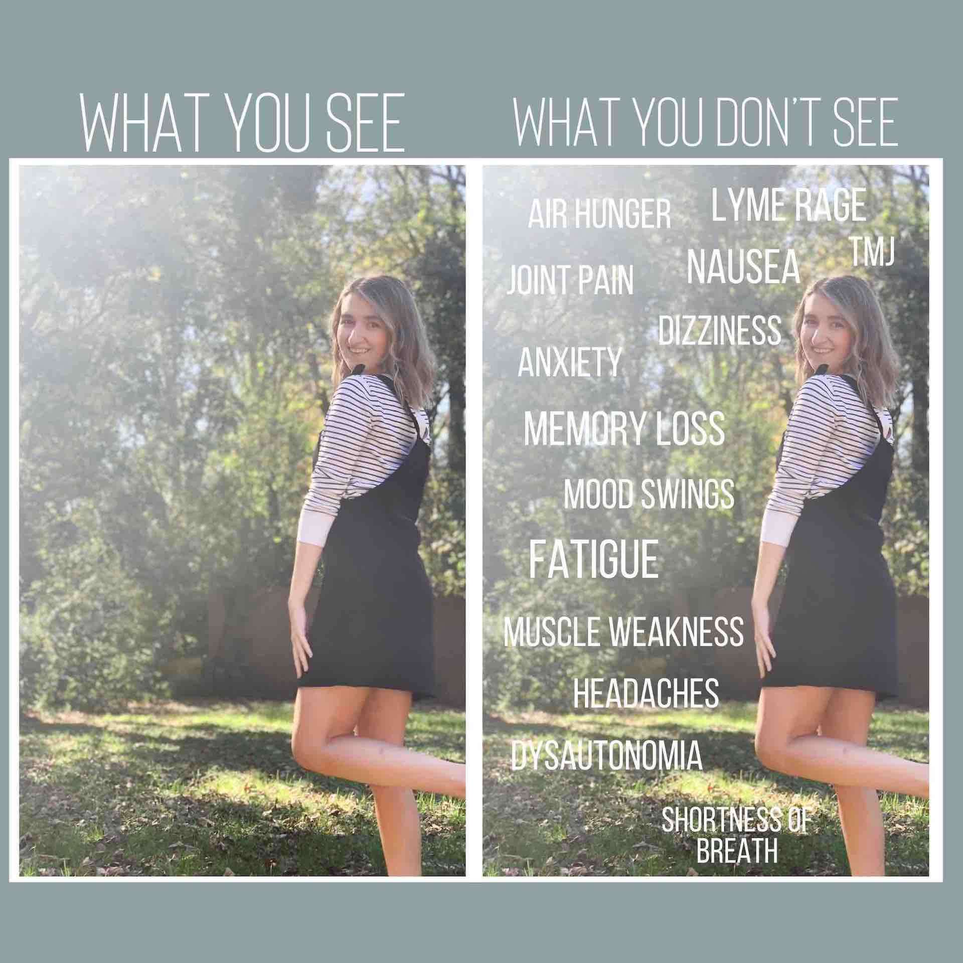 what you see vs what you don't see image - side by side photos of girl, one with symptoms listed overtop of photo